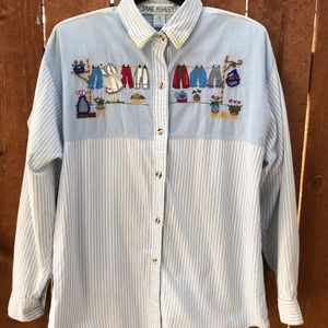 Jane Ashley Embroidered Shirt Clothes Line Vintage